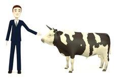 Cartoon businessman with bull Stock Photo