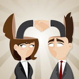 Cartoon businessman and businesswoman check hand in they head Royalty Free Stock Image