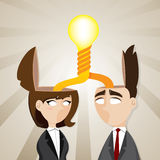 Cartoon businessman and businesswoman with twisted idea bulb Royalty Free Stock Photos
