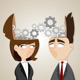Cartoon businessman and businesswoman working together Stock Photos