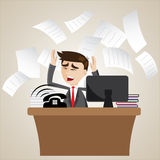 Cartoon businessman busy on office table. Illustration of cartoon businessman busy on office table Royalty Free Stock Photography