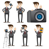 Cartoon businessman with camera dslr Royalty Free Stock Photo