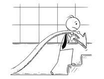 Cartoon of Businessman Carry Graph Chart Arrow Up Stairs to Increase Profit. Cartoon stick man drawing conceptual illustration of businessman carry profit chart Royalty Free Stock Photography