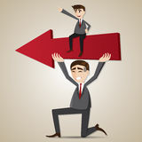 Cartoon businessman carry red arrow with exploited teammate. Illustration of cartoon businessman carry red arrow with exploited teammate in teamwork concept Stock Images