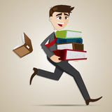 Cartoon businessman carry stack of folder and dropped book Stock Image