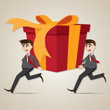 Cartoon businessman carrying big gift box Stock Photo