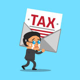 Cartoon businessman carrying big tax letter. For design Royalty Free Stock Photo