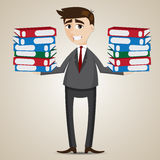 Cartoon businessman carrying folders Royalty Free Stock Photo