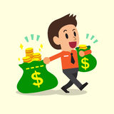 Cartoon businessman carrying money bags Royalty Free Stock Images