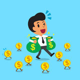 Cartoon businessman carrying money bags and walking with money coins Stock Images
