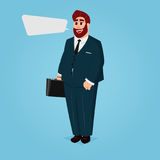 Cartoon Businessman with Case and Suit Royalty Free Stock Photography