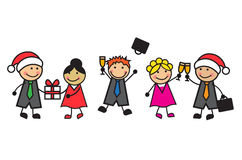 Cartoon businessman celebrating the new year Stock Photo