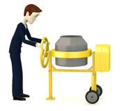 Cartoon businessman with cement mixer Stock Images