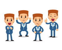 Cartoon businessman character poses set. For design Royalty Free Stock Photo