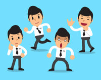 Cartoon businessman character poses set. For design Royalty Free Stock Photography