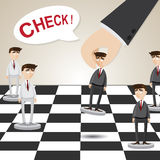 Cartoon businessman in chessboard Stock Photo