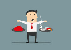 Cartoon businessman between cigarettes and a heart Stock Images