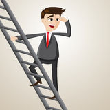 Cartoon businessman climb ladder and looking for opportunity Stock Image