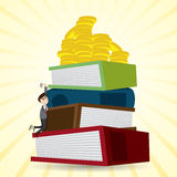 Cartoon businessman climbing stack of folder to get money Stock Images