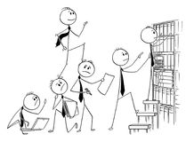 Cartoon of Businessman Climbing Up Backs of His Coworkers or Teammates. Cartoon stick man drawing conceptual illustration of businessman climbing up backs of his Royalty Free Stock Photo