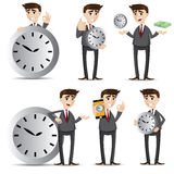 Cartoon businessman with clock set Royalty Free Stock Photos