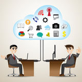 Cartoon businessman with cloud computer connecting Stock Photography