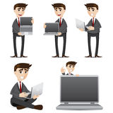 Cartoon businessman with computer laptop set Royalty Free Stock Image