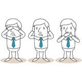 Cartoon businessman covering eyes ears mouth Stock Images