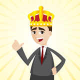 Cartoon businessman with crown Royalty Free Stock Image