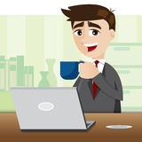 Cartoon businessman with cup of coffee Stock Image