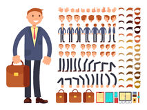 Cartoon businessman customizable vector character set. Constructor of different poses. Character businessman constructor foot and hair, arm and head Stock Photos
