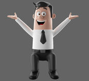 Cartoon businessman 3D office man in suit and tie. Cartoon businessman, 3D character figure of a man in suit and tie, funny icon of successful humorous agent Royalty Free Stock Photo