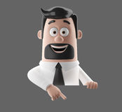 Cartoon businessman 3D office man in suit and tie. Cartoon businessman, 3D character figure of a man in suit and tie, funny icon of successful humorous agent Stock Photo