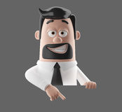 Cartoon businessman 3D office man in suit and tie. Cartoon businessman, 3D character figure of a man in suit and tie, funny icon of successful humorous agent Stock Photography