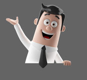 Cartoon businessman 3D office man in suit and tie. Cartoon businessman, 3D character figure of a man in suit and tie, funny icon of successful humorous agent Stock Photos