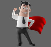 Cartoon businessman 3D office man in suit and tie. Cartoon businessman, 3D character figure of a man in suit and tie, funny icon of successful humorous agent Royalty Free Stock Photos