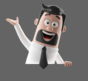 Cartoon businessman 3D office man in suit and tie Royalty Free Stock Images