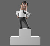 Cartoon businessman 3D office man in suit and tie stock illustration