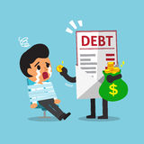Cartoon businessman and debt letter Stock Images