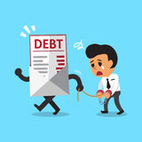 Cartoon businessman and debt letter. For design Stock Images