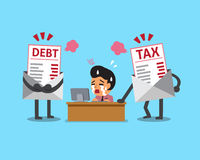 Cartoon businessman with debt and tax letter. For design Stock Images