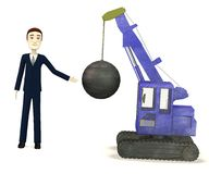 Cartoon businessman with destruction crane Royalty Free Stock Images