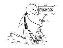 Cartoon of Businessman Digging a Hole for Plant with Business Sign. Cartoon stick man drawing conceptual illustration of businessman digging hole with small Royalty Free Stock Image