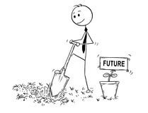 Cartoon of Businessman Digging a Hole for Plant with Future Sign. Cartoon stick man drawing conceptual illustration of businessman digging hole to plant a tree Royalty Free Stock Photo