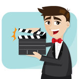 Cartoon businessman with director cut Stock Photos