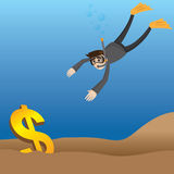 Cartoon businessman diving to get money. Illustration of cartoon businessman diving to get money Royalty Free Stock Photo