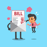 Cartoon businessman does not have money to pay bill. For design Stock Photo