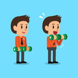 Cartoon businessman doing dumbbell bicep curls step training. For design Royalty Free Stock Photo