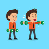 Cartoon businessman doing dumbbell lateral raise exercise step training Stock Image