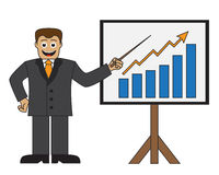 Cartoon businessman doing a presentation Stock Photos